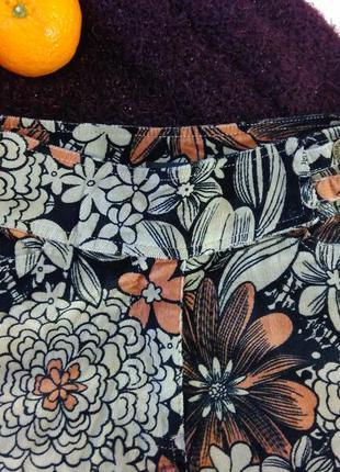Вельветовые штаны в крупный цветок, s,m3