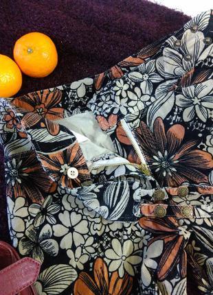 Вельветовые штаны в крупный цветок, s,m4