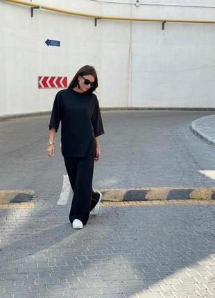 Черный женский костюм штаны кофта набор прогулочный  красивый женский костюм