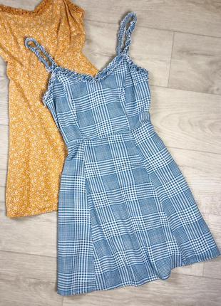 Платье сарафан в клетку бело-голубого цвета boohoo