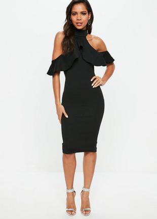 Черное миди платье с воланами