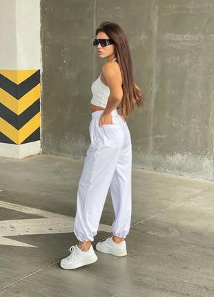 Белые спортивные штаны брюки повседневные женские