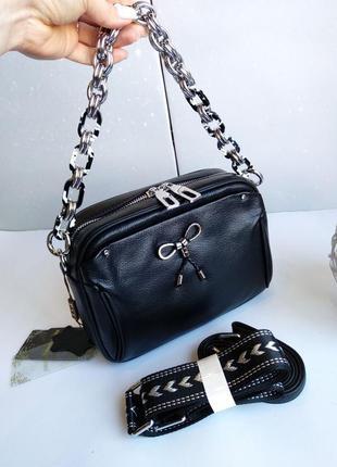 Натуральная кожа сумочка женская на цепочке длинный ремешок-цепочка длинный ремешок на плечо кроссбоди клатч polina eiterou полина
