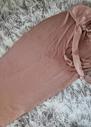 Шикарное вечернее платье в пол пудра, женское платье вечернее в пол