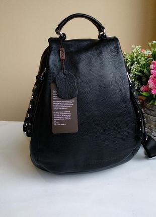 Кожаный женский городской рюкзак натуральная кожа чёрный графит асфальт полина polina eiterou фурнитура серебро