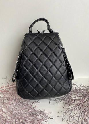 💘 стёганый кожаный городской женский рюкзак натуральная кожа чёрный полинаpolina eiterou 30 см графит асфальт