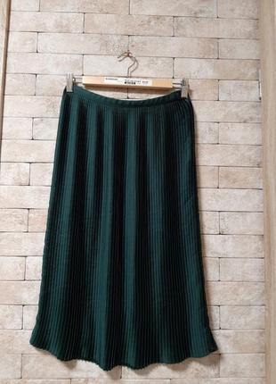 Плисированная юбка  изумрудного  цвета