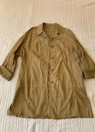 Замшевая, кожаная, натуральная рубашка, накидка, куртка, оверсайз