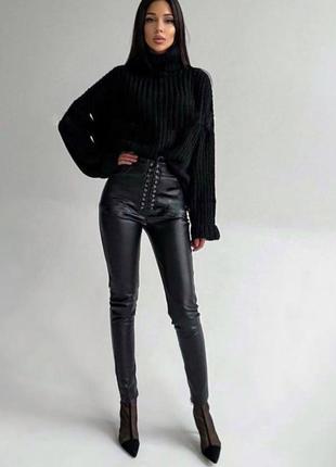 Кожаные лосины , лосины на шнуровке , черные лосины