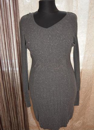 Дизайнерское нарядное стройнящее моделирующее платье, люрекс,резинка