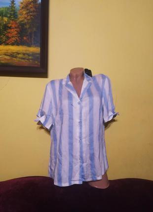 Стильна блузочка-рубашка в полоску біла-голуба sheggy woman. турція!  хл/42, нова етикетка