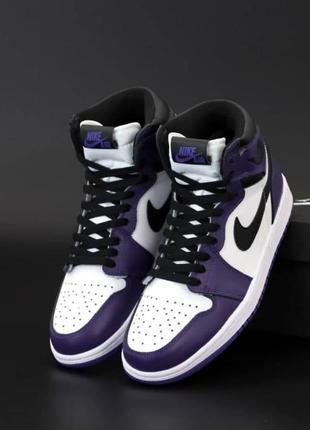 Женские кроссовки nike air jordan 1 retro high white/black/violet/purple
