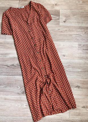 Платье миди в горох на пуговицах pieces
