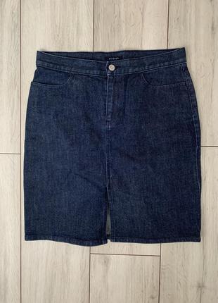 Коттоновая/джинсовая/юбка/миди/синяя