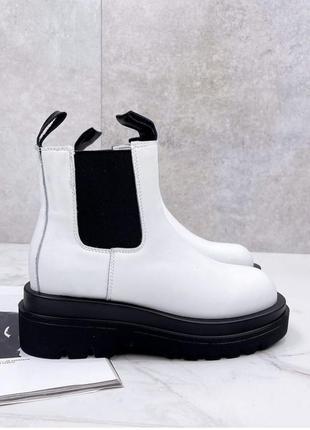 Челси из натуральной кожи белые ботинки демисезонные