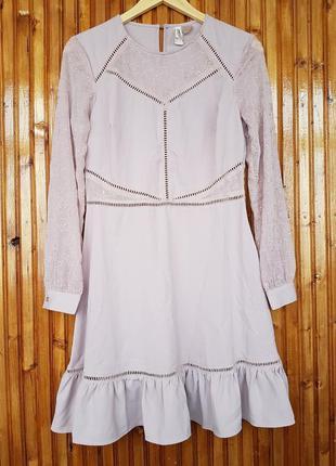 Красивое вечернее, коктейльное платье мини h&m с вышивкой и воланами.
