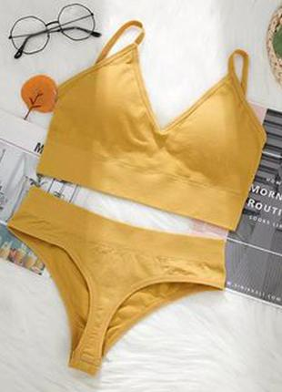 Безшовное женское белье желтый комплект топ и стринги