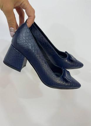 Эксклюзивные туфли лодочки синие натуральная итальянская кожа рептилия