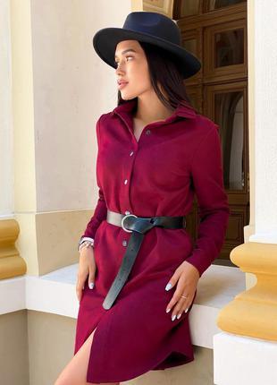 Платье женское демисезонное короткое мини с поясом на пуговицах