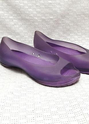 Балетки-мыльницы силиконовые фиолетовые открытый носок летние туфли мягкие