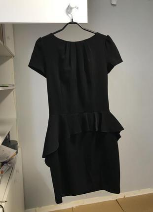Платье love republic чёрное с баской офисное деловое