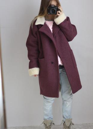 Зимове пальто на овчині/ шерсть/букле