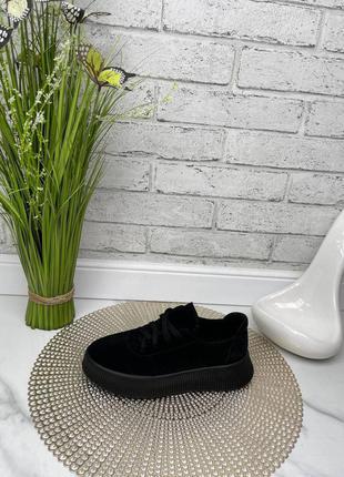 Туфли женские черные замшевые на толстой подошве платформе из натуральной замши натуральная замша