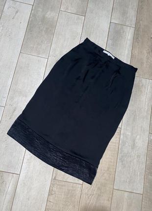 Чёрная сатиновая миди юбка,шёлковая юбка(10)