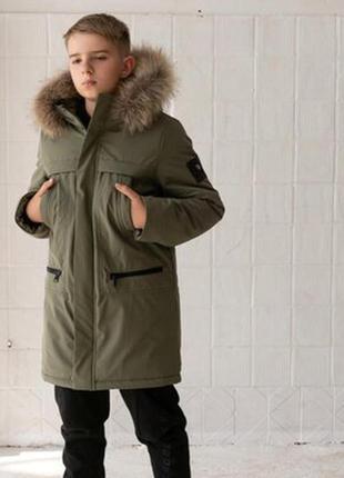 Зимняя куртка парка с натуральным мехом из ветро и водонепроницаемой мембраны