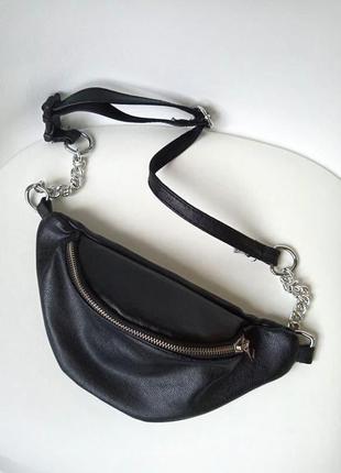 Стильная черная поясная сумка с цепью/ на цепочке, сумка банан.
