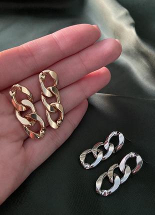Серьги цепи тренд серебро сережки