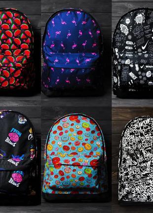 Принтованный яркий рюкзак с отделением для ноутбука, не пропускает влагу, плотненные и прошиты лямки