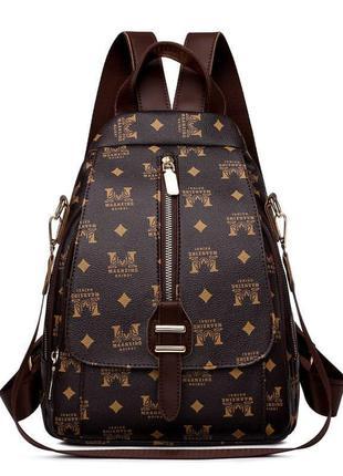 Жіночий коричневий рюкзак / женский коричневый рюкзак кожзам