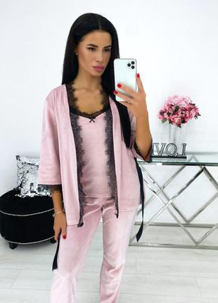 Пижама женская демисезон кружевная осень батал черная розовая штаны