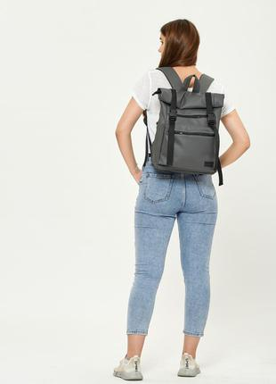 Женский серый рюкзак roll top большой вместительный для универа