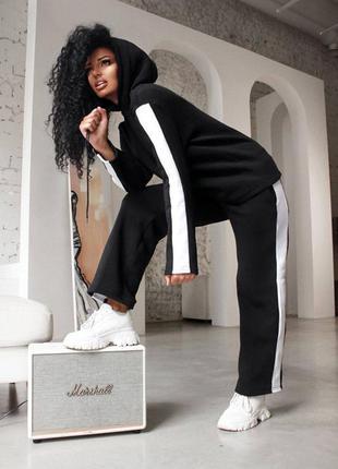 Костюм спортивный спортивний прогулочный на флисе теплый теплий тёплый худи кофта с капюшоном худі и + штаны широкие с полоской черный чёрный