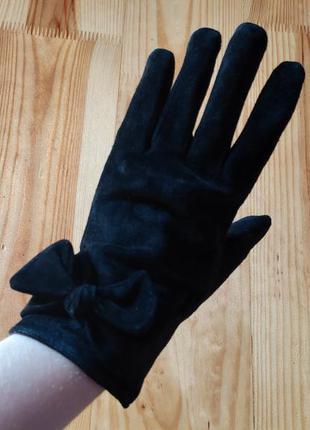 Шкіряні рукавички, чорні , замшеві, з бантиками