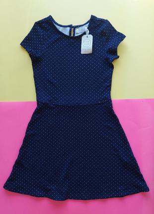 Платье синее в горох, идеально в школу
