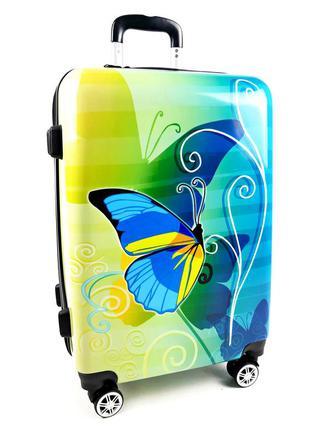 Большой чемодан с бабочкой желто-голубой на колесах, с 3d эффектом 90 л, bagia