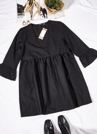 Повседневное платье черное, осеннее платье свободное, сукня, плаття