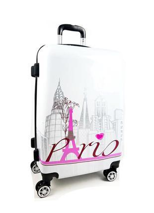 Маленький чемодан на колесах, белый paris 40 л