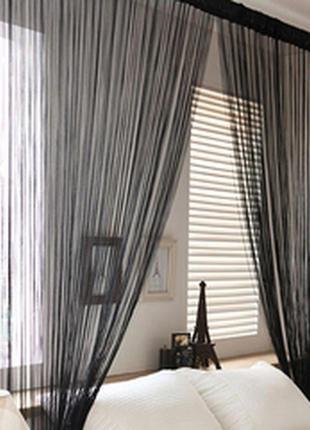 Нитяные шторы (черный)