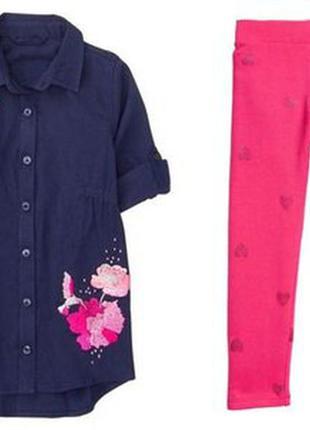 Стильный комплект удлиненная рубашка gymboree сша и треггинсы h&m англия в новом состоянии