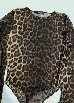 Шикарный леопардовый боди в сеточку прозрачный 42/44