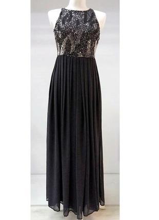 Платье/в пол/черное с серебром/ вечернее/ новогоднее/нарядное  lace beads/хs/s