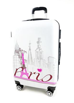 Средний чемодан на колесах, с 3d белый paris 60 л, bagia