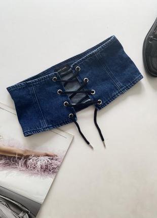 Классный джинсовый пояс корсет на шнуровке