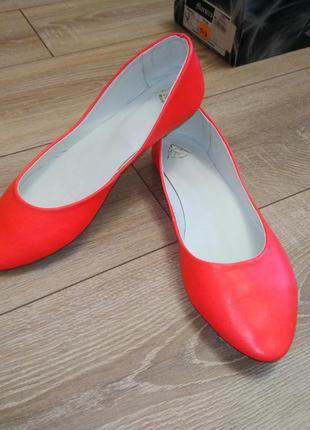 Яркая осень коралловая кожа балетки туфли 40 размер