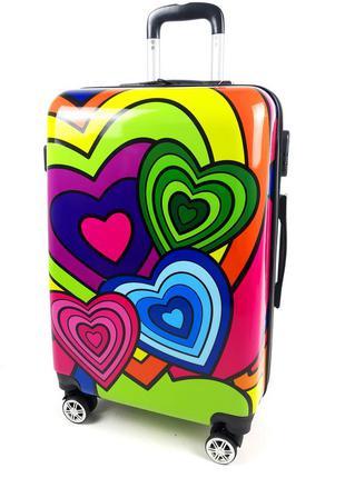 Маленький чемодан на колесах, с 3d серца 40л