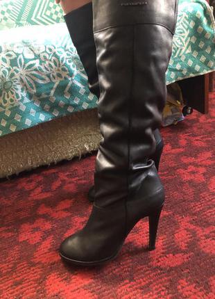 Ботфорты, сапоги на каблуке, кожаные сапоги сапожки, высокие сапоги